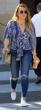hilary duff flashes cleavage in front knotted shirt daily mail