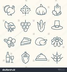 thanksgiving line icon set stock vector 732119518