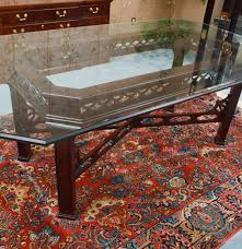 chinese chippendale style glass top dining table ebth