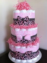 3 tier pink safari diaper cake baby jungle safari baby shower