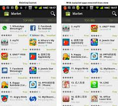 android market app mockup to demonstrate optimisation of market app on android