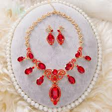 wedding necklace set red images Buy wholesale simple retro wedding jewelry sets red crystal jpg