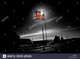 Black And White Us Flag Black And White Image Of American Flag Where The Flag Is Backlit