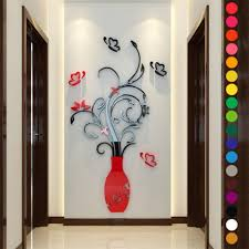 home smirror 3d clock creative wall stickers cndirect com red 3d flower vase art decoration mirror wall stickers