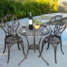 Aluminium Bistro Table And Chairs Cast Aluminium Table Ebay