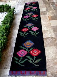 Floral Runner Rug Antique Kilim Rug Runner Floral Black Blue Fuschia Roses