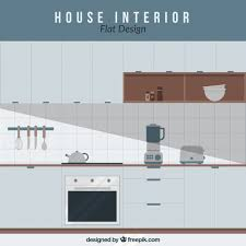 Free Design Kitchen Kitchen With Electrical Appliances In Flat Design Vector Free