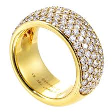 gold diamond band cartier yellow gold diamond pave band ring for sale at 1stdibs