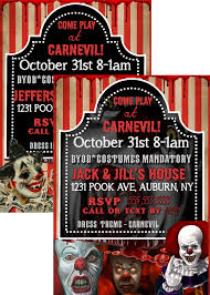 evil clown party invite pennywise halloween invitations unique