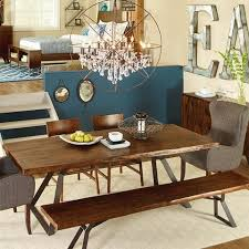home trends design london loft dining table in walnut london loft dining table acacia wood hand forged iron base
