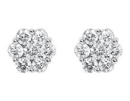 diamond cluster earrings 14k white gold mens diamond 9mm flower cluster stud