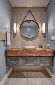 Powder Bathroom Vanities Farmhouse Industrial Powder Room With Hanging Mirror Traditional