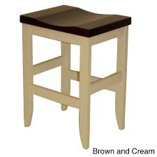 stylish elegant solid wood saddle seat bar stools with brown and