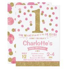 girl birthday 1st birthday invitations zazzle