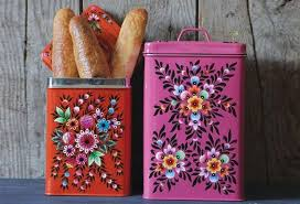 metal kitchen canister sets hand painted metal canisters set of 2 kitchen canisters canister