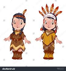 two dressed indians thanksgiving stock vector 229397905