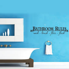 amazing bathroom quote decal wall sticker large size bathroom rules wash brush floss flush quote wall decal