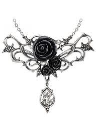 black rose pendant necklace images Elegant black rose victorian necklace with crystal drop fine jpg