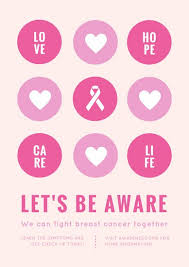 pink icons breast cancer awareness poster templates by canva