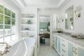 White Bathroom Shelves - white bath vanity with blue cabinet doors and drawers