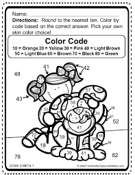 3rd grade go math 1 2 color by numbers round to the nearest ten or