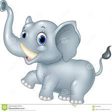 cartoon funny baby elephant on white background stock vector
