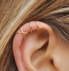 earring that connects to cartilage pinjeas set of 2pcs handmade no piercing cross cuff earrings
