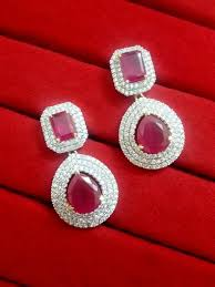 daphne pink cz earrings for women best gift for anniversary