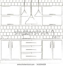 Template For Kitchen Design Vector Illustration Kitchen Interior Design Template Stock Vector