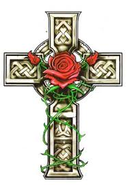 celtic cross with wings on lower back photos pictures