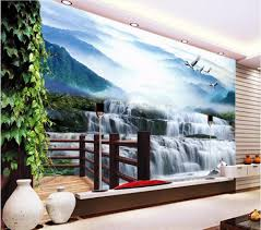 wall water falls promotion shop for promotional wall water falls custom mural 3d photo wallpaper water falls crane home decor painting 3d wall murals wallpaper for living room walls 3 d