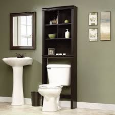 Black Bathroom Storage Tower by High Black Wooden Cabinet With Five Shelves Also White Toilet