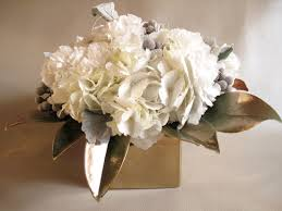 beautiful blooms white u0026 metallic centerpiece with painted
