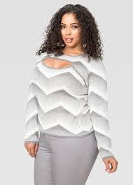 chevron jacquard keyhole sweater plus size sweaters stewart