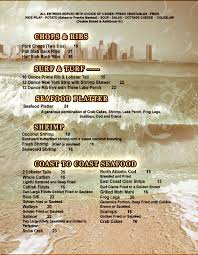 menu appetizers desserts dinners seafood the beach cafe