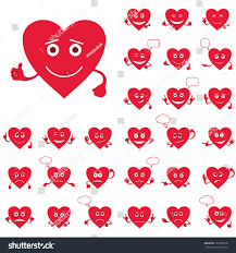 set valentine hearts smilies love signs stock vector 121003678