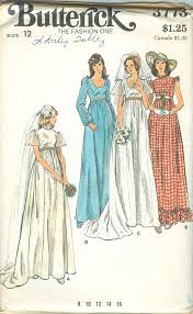 vintage wedding dress patterns 3773 vintage 1970s high waist wedding dress pattern b34