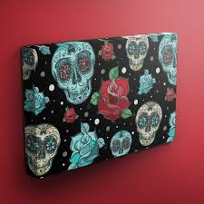 day of the dead turquoise sugar skull gallery wrapped canvas ink