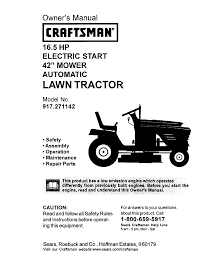 craftsman lawn mower 917 271142 user guide manualsonline com