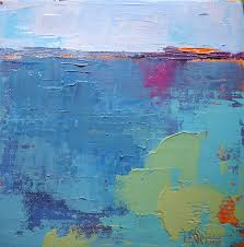 abstract landscape painting blue 8x8x1 5 oil abstract by schiff sold