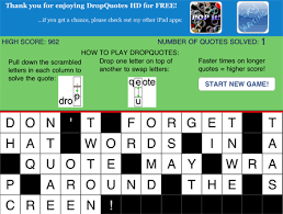 dropquotes hd free word puzzle game for the ipad