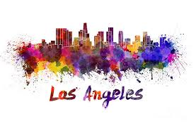 los angeles skyline in watercolor painting by pablo romero
