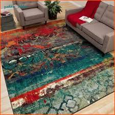 Red And Turquoise Area Rug Unique Area Rug Multi Color Faded Design Bright Bold Teal Blue Red