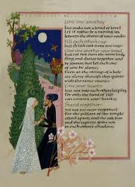 wedding wishes kahlil gibran make not a bond of let it rather be a moving sea between the