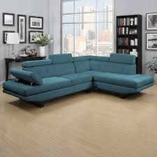 Marlo Furniture Sectional Sofa by Handy Living Fontaine Caribbean Blue Linen 2 Piece Sectional