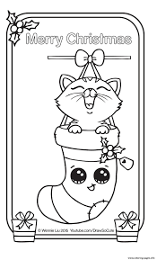 christmas card kitten draw so cute coloring pages printable