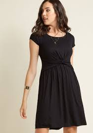 record time a line dress in black modcloth
