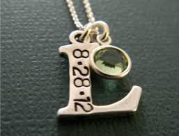 Personalized Photo Pendant Necklace Sterling Silver Initial Letter Charm Custom Hand Stamped