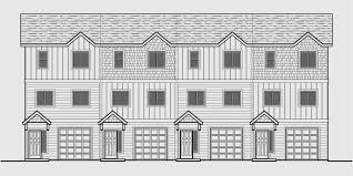 4 plex plans narrow townhouse plans f 562