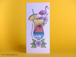 handmade birthday card flamingo sunrise cocktail tattoo